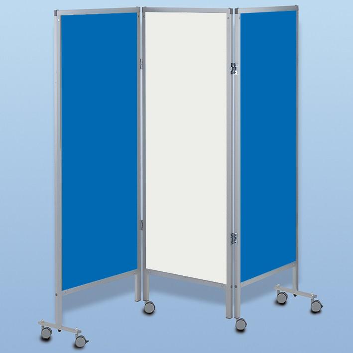 Wandschirm 3-flügelig, fahrbar, Farbe: blau/weiß/blau (Strecke)