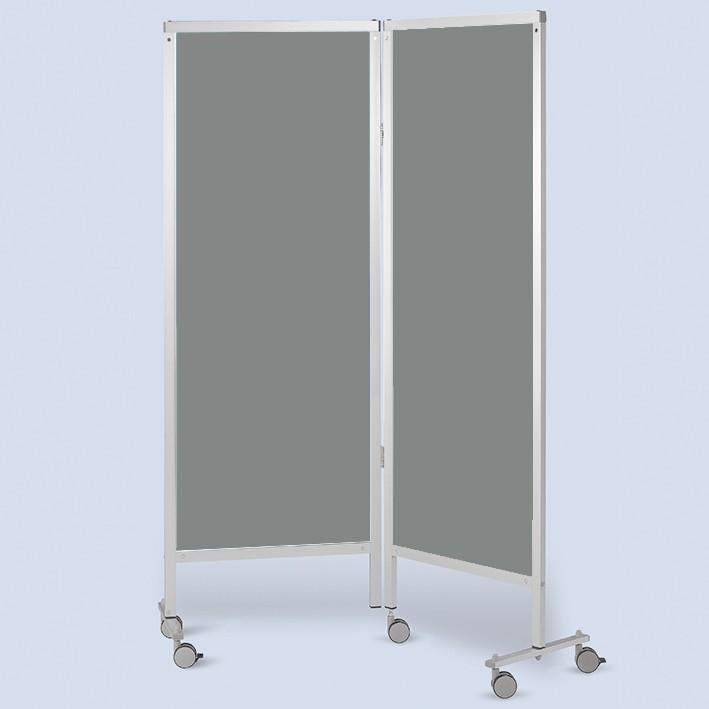 Wandschirm 2-flügelig, fahrbar, Farbe: grau/grau (Strecke)