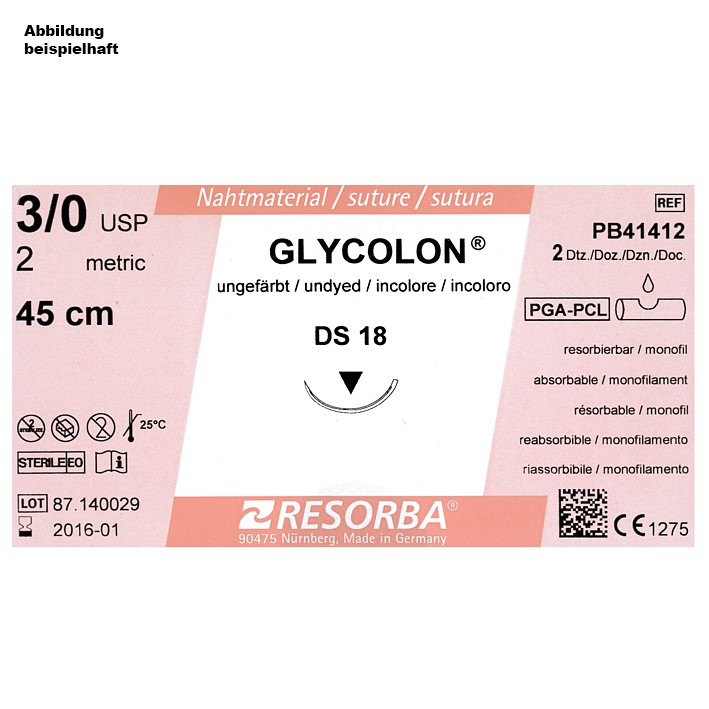 GLYCOLON DS 18 4/0=1,5 ungefärbt, Nahtmaterial Fadenlänge 45 cm (24 Stck.)