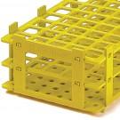 *Reagenzglasgestell, PP, -ausser Handel- Alternative: BRA 4340040 BRA 430041 oder BRA 430042  gelb, für 21 Röhrchen bis Ø 30 mm  VE = 5 Stck.