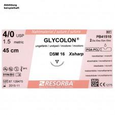 GLYCOLON DSM 13 4/0=1,5 ungefärbt, Nahtmaterial Fadenlänge 45 cm (24 Stck.)